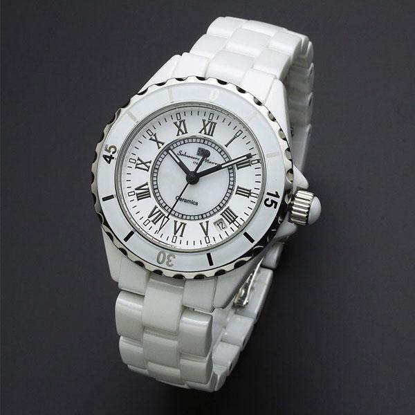 取寄品 正規品 Salvatore Marra 腕時計 サルバトーレマーラ SM15120-WHR セラミック 三針 防水 メンズ腕時計 送料無料