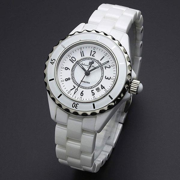 取寄品 正規品 Salvatore Marra 腕時計 サルバトーレマーラ SM15151-WHA セラミック 三針 防水 レディース腕時計 送料無料