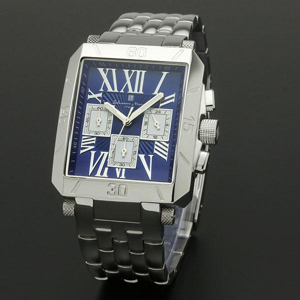 取寄品 正規品Salvatore Marra腕時計サルバトーレマーラ SM17117-SSBLSV 角型 クロノグラフ メタル 防水 メンズ腕時計 auktn 送料無料