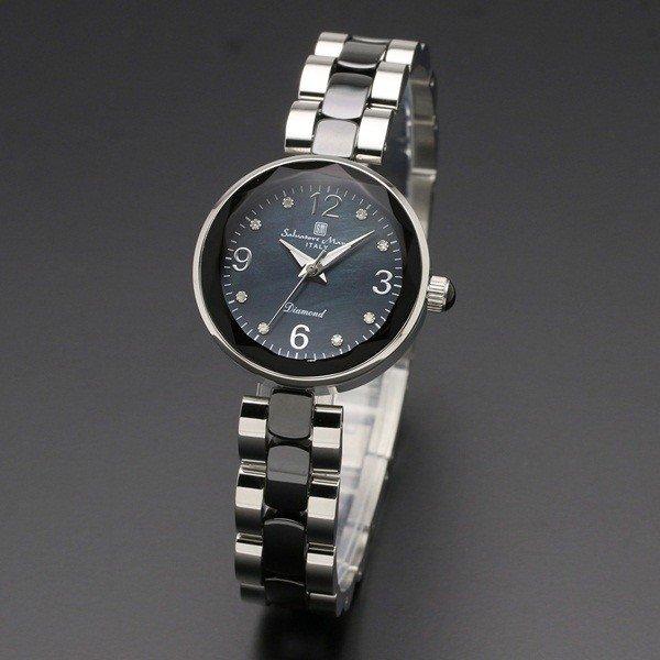 取寄品 正規品 Salvatore Marra 腕時計 サルバトーレマーラ SM17153-SSBKA MOP時計 1Pダイヤ 防水 メンズ腕時計 送料無料