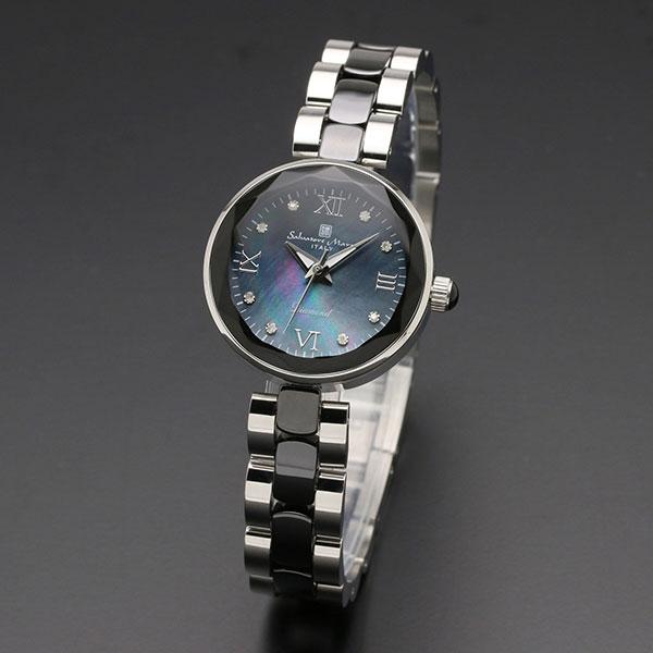 取寄品 正規品Salvatore Marra腕時計サルバトーレマーラ SM17153-SSBKR MOP時計 1Pダイヤ 防水 メンズ腕時計 auktn 送料無料