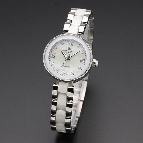 取寄品 正規品 Salvatore Marra 腕時計 サルバトーレマーラ SM17153-SSWHR MOP時計 1Pダイヤ 防水 メンズ腕時計 送料無料