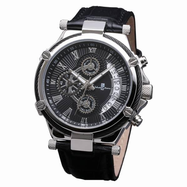 取寄品 正規品 Salvatore Marra 腕時計 サルバトーレマーラ SM18102-SSBK クロノグラフ 革ベルト 防水 メンズ腕時計 送料無料