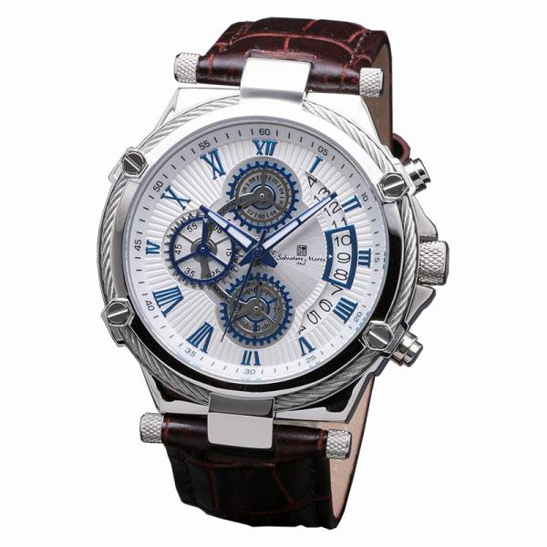 取寄品 正規品Salvatore Marra腕時計サルバトーレマーラ SM18102-SSWH クロノグラフ 革ベルト 防水 メンズ腕時計 auktn 送料無料