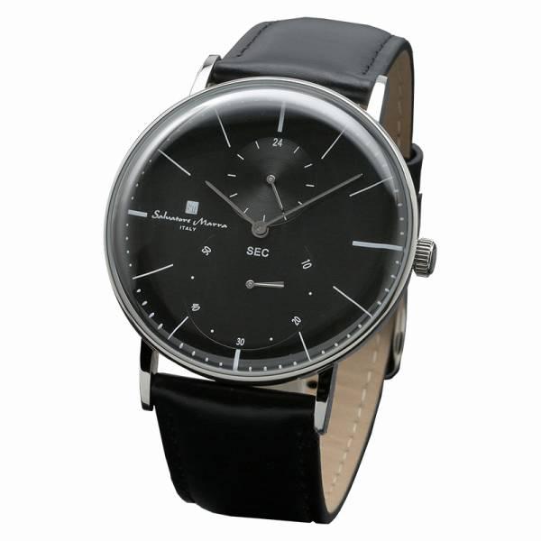 取寄品 正規品Salvatore Marra腕時計サルバトーレマーラ SM18103-SSBK スモールセコンド 革ベルト 防水 メンズ腕時計 auktn 送料無料