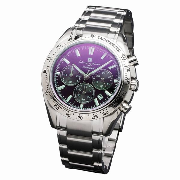 取寄品 正規品Salvatore Marra腕時計サルバトーレマーラ SM18106-SSBKSV クロノグラフ カラーガラス 防水 メンズ腕時計 auktn 送料無料