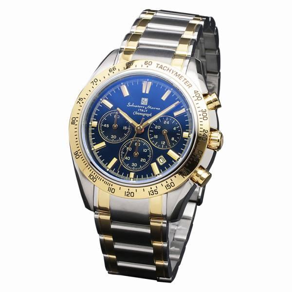 取寄品 正規品Salvatore Marra腕時計サルバトーレマーラ SM18106-SSBLGD クロノグラフ カラーガラス 防水 メンズ腕時計 auktn 送料無料