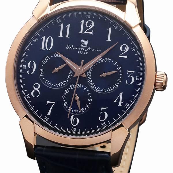 取寄品 正規品Salvatore Marra腕時計サルバトーレマーラ SM18107-PGBL 多軸 革ベルト 防水 メンズ腕時計 auktn 送料無料