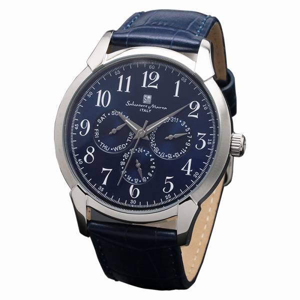 取寄品 正規品 Salvatore Marra 腕時計 サルバトーレマーラ SM18107-SSBL 多軸 革ベルト 防水 メンズ腕時計 送料無料