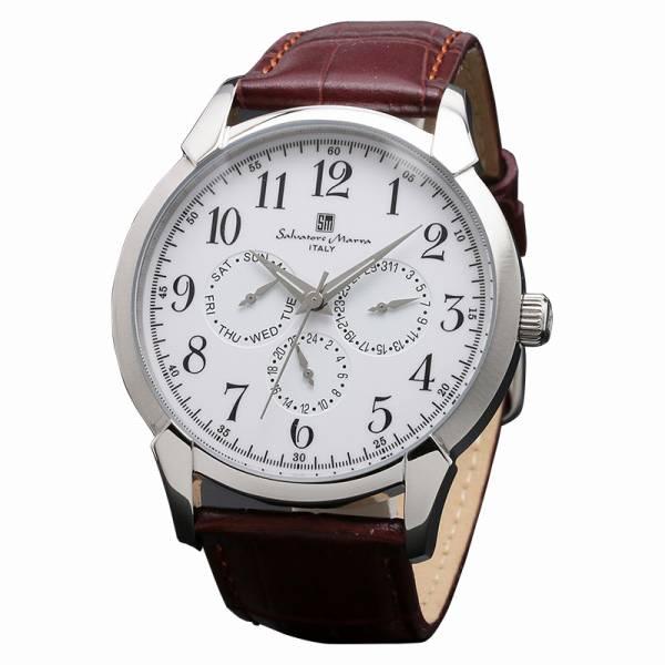取寄品 正規品 Salvatore Marra 腕時計 サルバトーレマーラ SM18107-SSWH 多軸 革ベルト 防水 メンズ腕時計 送料無料