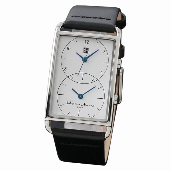 取寄品 正規品Salvatore Marra腕時計サルバトーレマーラ SM18108-SSWH デュアルタイム 革 防水 メンズ腕時計 auktn 送料無料