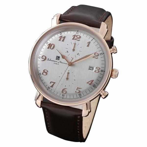 取寄品 正規品 Salvatore Marra 腕時計 サルバトーレマーラ SM18109-PGWH クロノグラフ 革 防水 メンズ腕時計 送料無料