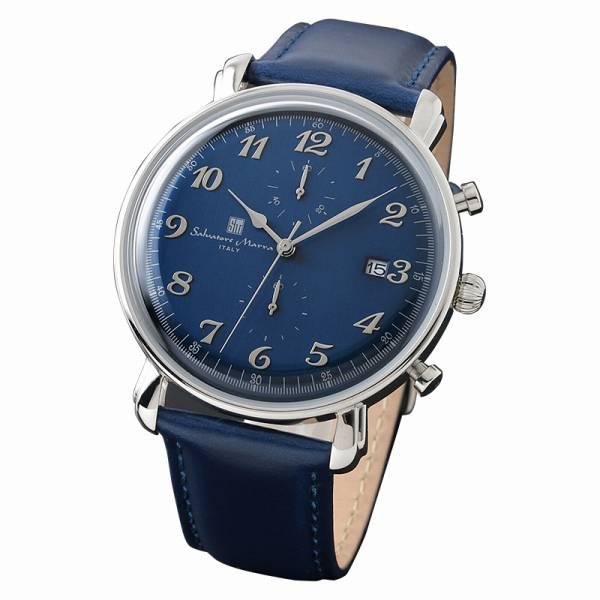取寄品 正規品 Salvatore Marra 腕時計 サルバトーレマーラ SM18109-SSBL クロノグラフ 革 防水 メンズ腕時計 送料無料