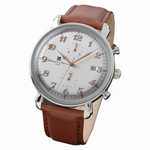 取寄品 正規品Salvatore Marra腕時計サルバトーレマーラ SM18109-SSWH クロノグラフ 革 防水 メンズ腕時計 auktn 送料無料