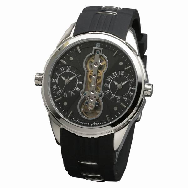 取寄品 正規品Salvatore Marra腕時計サルバトーレマーラ SM18113-SSBK ツインテンプ 自動巻き 防水 メンズ腕時計 auktn 送料無料