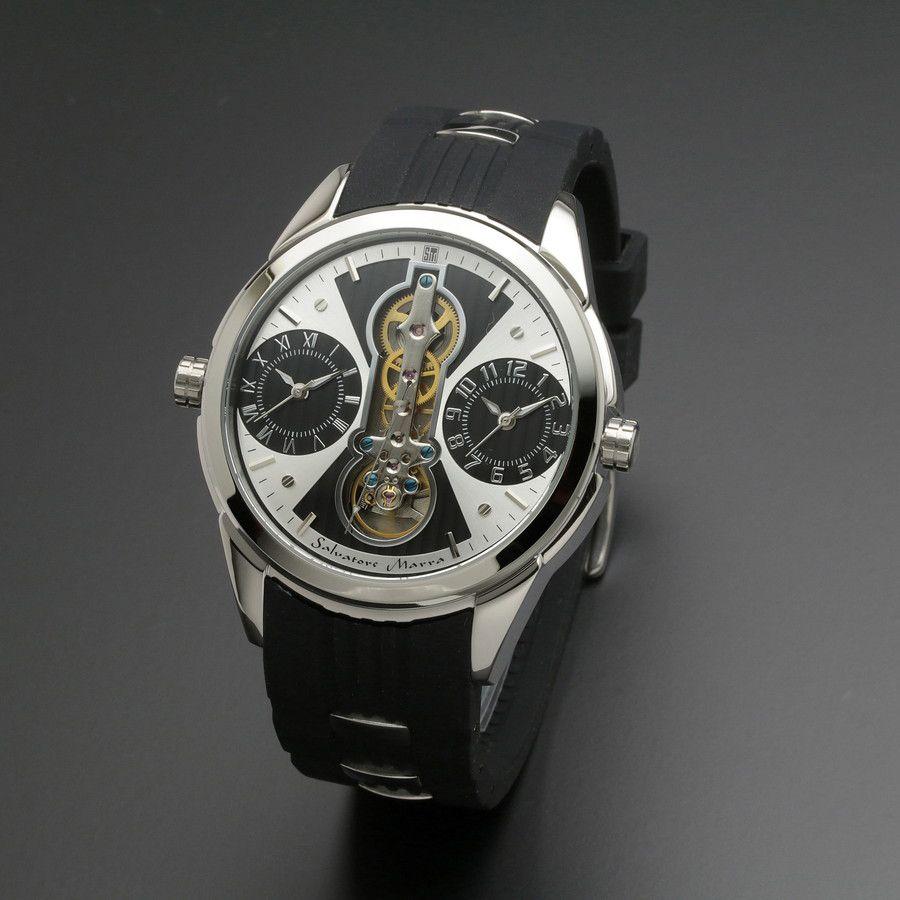 取寄品 正規品Salvatore Marra腕時計サルバトーレマーラ SM18113-SSWHBK ツインテンプ 自動巻き 防水 メンズ腕時計 auktn 送料無料