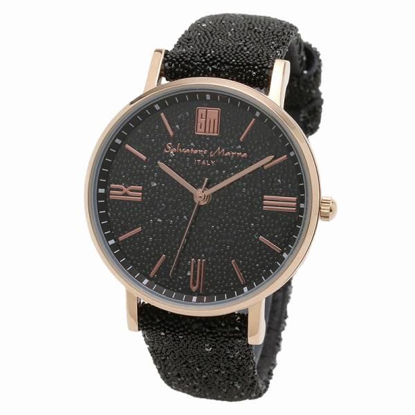 取寄品 正規品Salvatore Marra腕時計サルバトーレマーラ SM18115-PGBK スワロフスキー 時計 防水 メンズ腕時計 auktn 送料無料