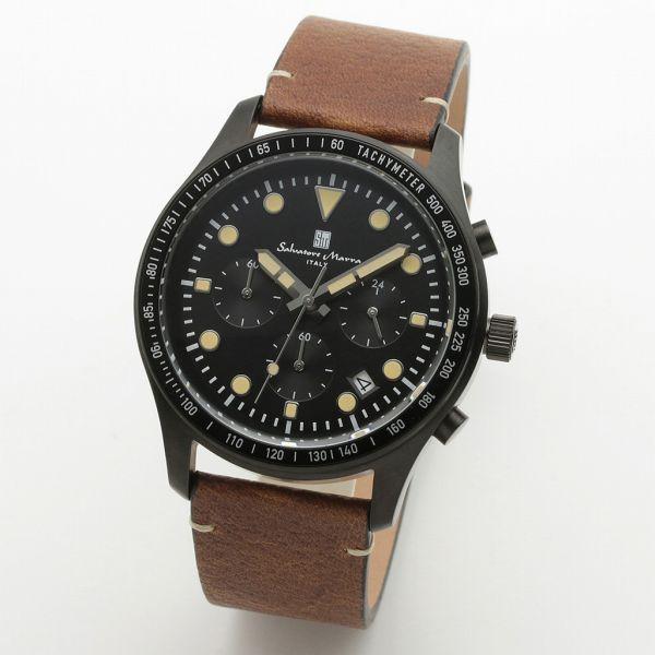 取寄品 正規品Salvatore Marra腕時計サルバトーレマーラ SM19101-BKBK クロノグラフ 革ベルト 防水 メンズ腕時計 送料無料