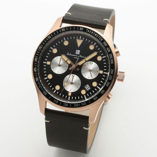 取寄品 正規品Salvatore Marra腕時計サルバトーレマーラ SM19101-PGBK クロノグラフ 革ベルト 防水 メンズ腕時計 送料無料