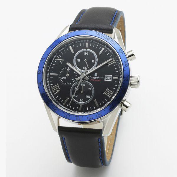 取寄品 正規品 Salvatore Marra 腕時計 サルバトーレマーラ SM19108-SSBKBL クロノグラフ 革ベルト 防水 メンズ腕時計 送料無料
