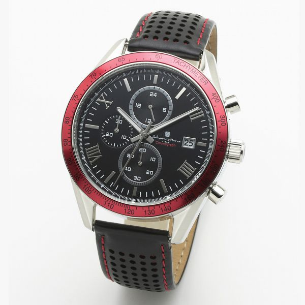 取寄品 正規品 Salvatore Marra 腕時計 サルバトーレマーラ SM19108-SSBKRD2 クロノグラフ 革ベルト 防水 メンズ腕時計 送料無料
