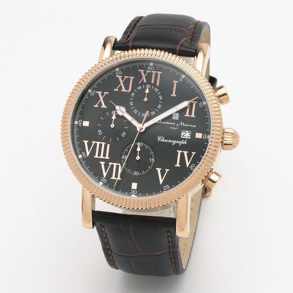 取寄品 正規品Salvatore Marra腕時計サルバトーレマーラ SM19109-PGBK1 クロノグラフ 革ベルト 防水 メンズ腕時計 送料無料