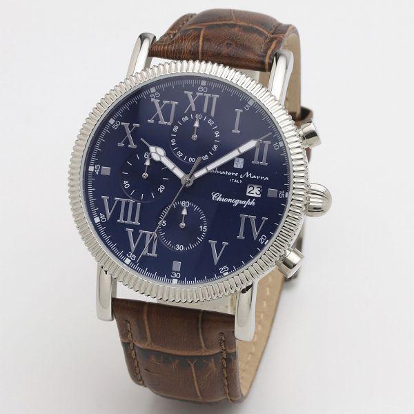 取寄品 正規品Salvatore Marra腕時計サルバトーレマーラ SM19109-SSBL クロノグラフ 革ベルト 防水 メンズ腕時計 送料無料