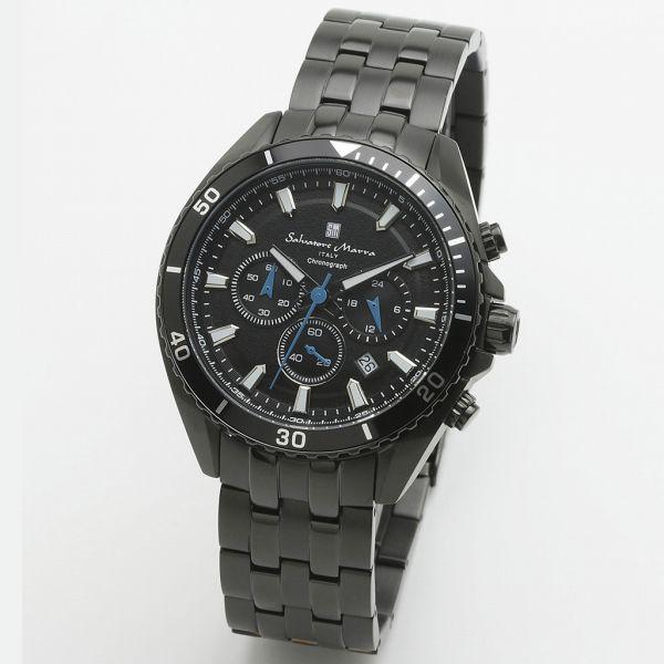 取寄品 正規品 Salvatore Marra 腕時計 サルバトーレマーラ SM19113-BKBK クロノグラフ メタルベルト 防水 メンズ腕時計 送料無料