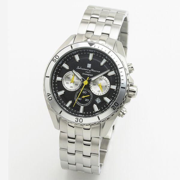 取寄品 正規品 Salvatore Marra 腕時計 サルバトーレマーラ SM19113-SSBK クロノグラフ メタルベルト 防水 メンズ腕時計 送料無料