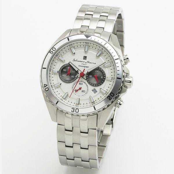 送料無料 取寄品 正規品 Salvatore Marra 海外限定 腕時計 サルバトーレマーラ 日時指定 防水 メンズ腕時計 メタルベルト クロノグラフ SM19113-SSWH