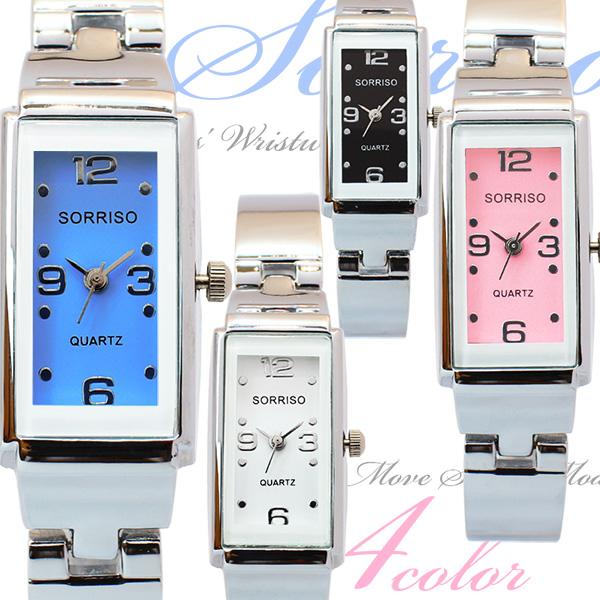 正規品SORRISOソリッソ 上品レクタンギュラーケースの大人可愛いバングル風の長方形腕時計 SR874L レディース腕時計 送料無料