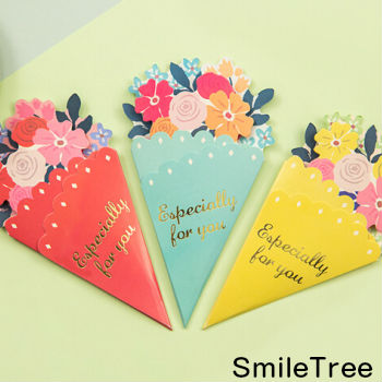 Bouquet Card Greeting Flower Letter Stationery Present Celebration Birthday Marriage Fathers Day Mothers