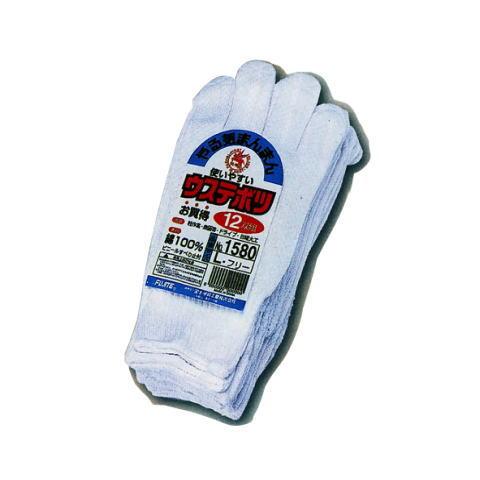 1580 ウステボツ 12双組(10ダース) 白イボ手袋 天牛 フジテ 富士手袋工業