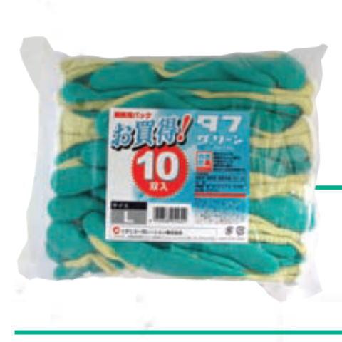 タフグリーン10双組(120双)ミタニコーポレーション ゴム引き手袋