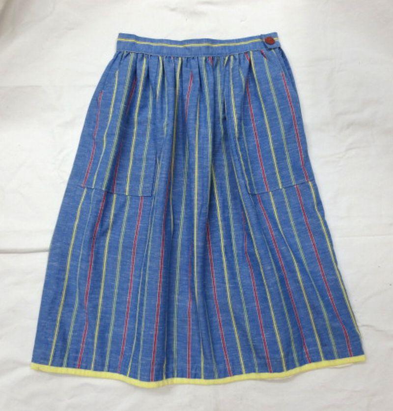 送料無料 あす楽 中古 US古着 コットンミモレ丈スカート ブルー W28相当 高価値 好評受付中 ストライプ柄