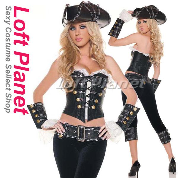 デラックス・パイレーツ 海賊のコスプレ衣装 ハロウィンのレディース・コスチューム豪華5点セット M1-N6288