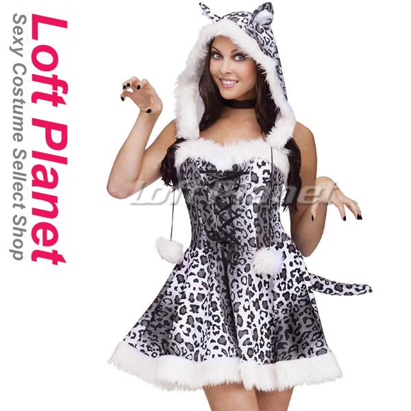 スノーレパード ヒョウ柄ドレス ハロウィンのアニマル着ぐるみコスプレ衣装 セクシー&キュート レディース・コスチューム 2点セット OY-C80792