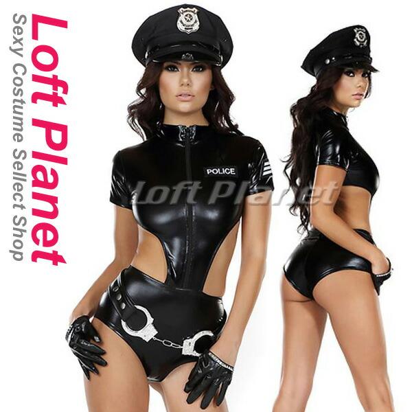 ポリスウーマンのジッパーボディスーツ4点セット セクシーな警官コスチューム黒 WB-W850747