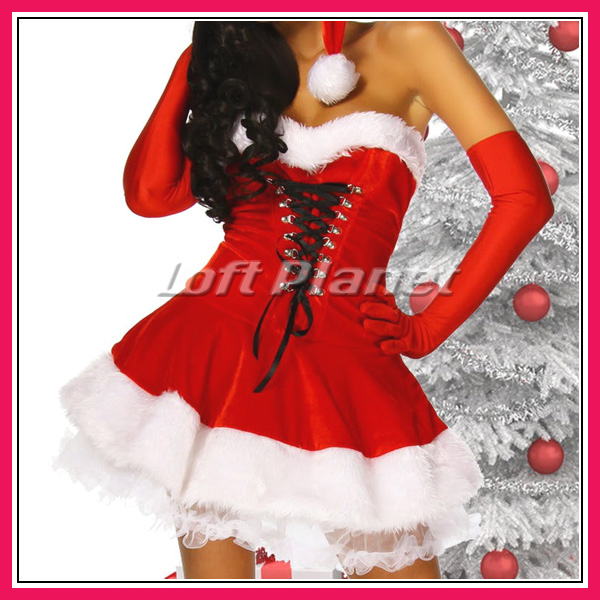 サンタ衣装ロングハットと編み上げのミニドレス・ブーツカフス付クリスマスのコスチューム3点セット大きいサイズありDL-LC7173モデル拡大画像