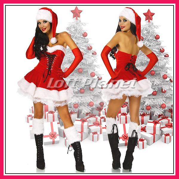 サンタ衣装ロングハットと編み上げのミニドレス・ブーツカフス付クリスマスのコスチューム3点セット大きいサイズありDL-LC7173モデル前後画像