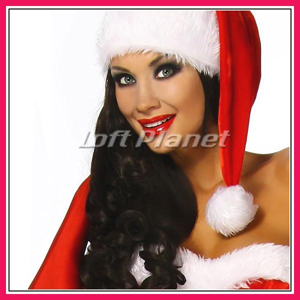 サンタ衣装ロングハットと編み上げのミニドレス・ブーツカフス付クリスマスのコスチューム3点セット大きいサイズありDL-LC7173モデル帽子画像