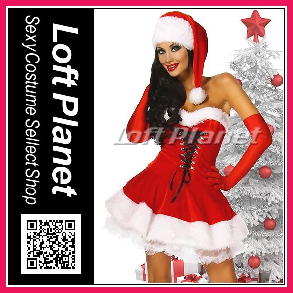 サンタ衣装ロングハットと編み上げのミニドレス・ブーツカフス付クリスマスのコスチューム3点セット大きいサイズありDL-LC7173モデル商品画像