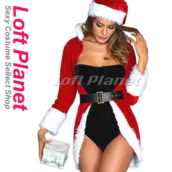 クイーンのサンタ衣装 クリスマスのセクシードレス ガウンとボディスーツのコスプレ4点セット 赤黒コスチューム DL-LC7297-3