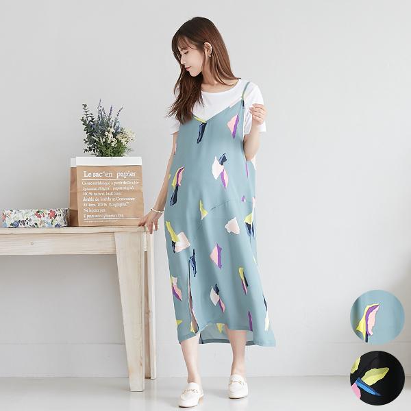 カラフルリーフデザイン カットソーセット 授乳服 キャミソールワンピース カラフルなデザインが目を引くおしゃれなアイテム♪