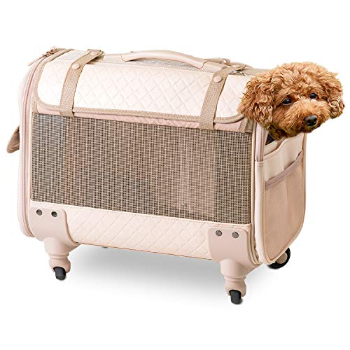 ブロッサムリュックキャリー パールベージュ M 犬 ブランド品 小型犬 中型犬 多頭飼い キャスター おしゃれ 耐荷重 取り外し 10kg 手持ち メッシュ リュック ショルダー