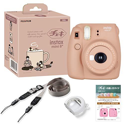 FUJIFILM インスタントカメラ チェキ instax 即出荷 ラッピング無料 mini8プラス 接写レンズ 純正ショルダーストラップ付き 116mm×118mm×68mm COCOA INS 8PLUS ココア MINI