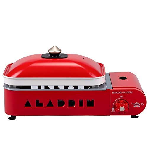 Aladdin (アラジン) ポータブル ガス ホットプレート プチパン Petit Pan カセットボンベ式 プレート2種付 平プレート / 2色鍋 [オレンジページ×Sengoku Aladdin レシピブック付属] レッド SAG-RS21B(R)