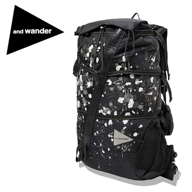 and wander アンドワンダー splatter hand paint 40L backpack スプラッターハンドペイント バックパック AW93-AA091 【リュック/アウトドア/レジャー/鞄】