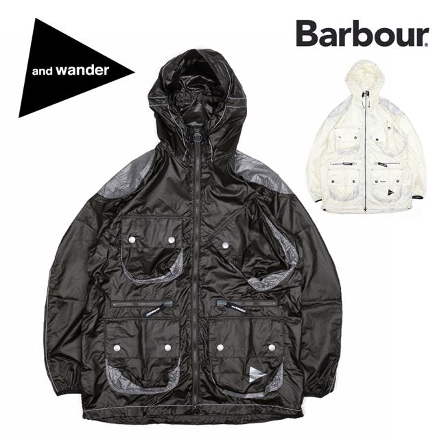 and wander アンドワンダー barbour shiny wind hoodie バブアーシャイニーウィンドフーディ 574-0111007 【ジャケット/アウター/コラボ/アウトドア】