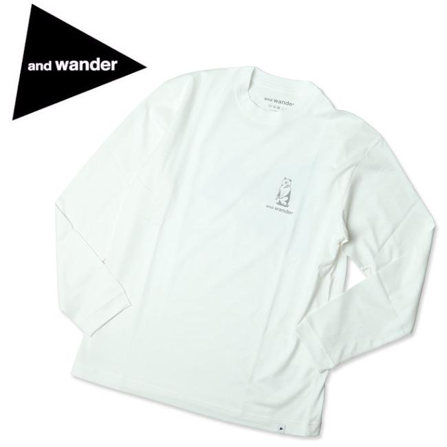 and wander アンドワンダー ロゴTシャツ L/S 574-0284095 【トップス/長袖/アウトドア/キャンプ】